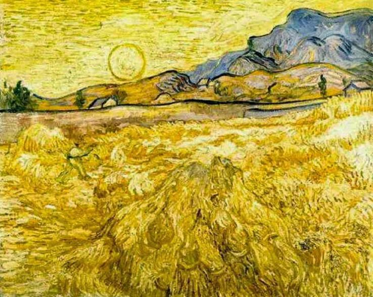Campo de trigo com ceifeiro e Sol. Esta pintura foi realizada no final de junho de 1889, quando van Gogh estava internado em um sanatório em Saint-Rémy.